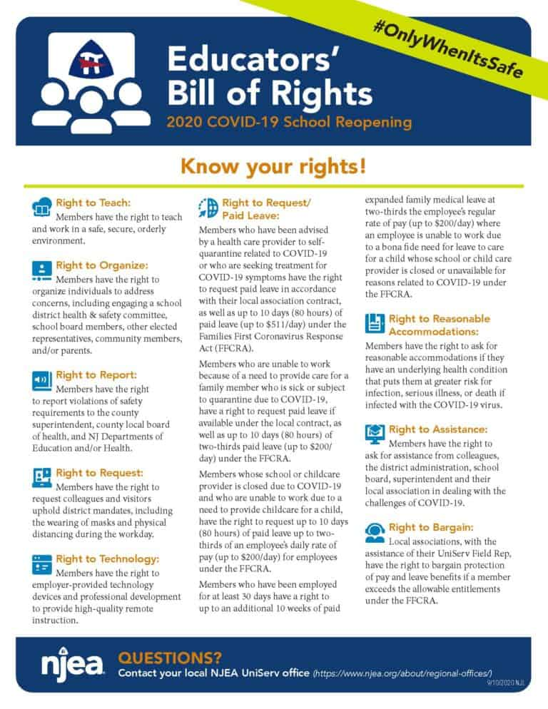 NJEA Educators' Bill of Rights